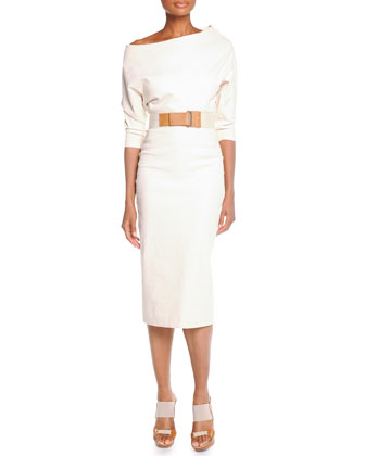 Belted Elbow-Sleeve Midi Dress