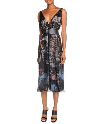 Deep V-Neck Printed Dress