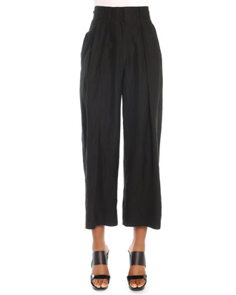 Cropped Pleated Canvas Pants