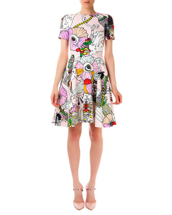 Chrono Textured Poppies Candy Flounce Dress