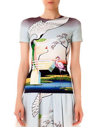 Short-Sleeve Fitted Flamingo Tee