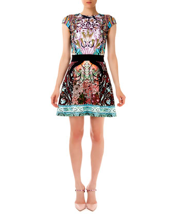Sirene Falsa Liala Printed Ponte A-Line Dress