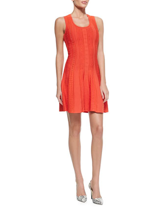 Textured Knit A-Line Tank Dress, Tulip