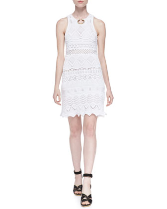 Crochet Knit Embellished-Neck Dress, White