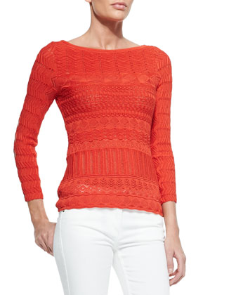 Cutout-Sleeve Zigzag Knit Top, Tulip