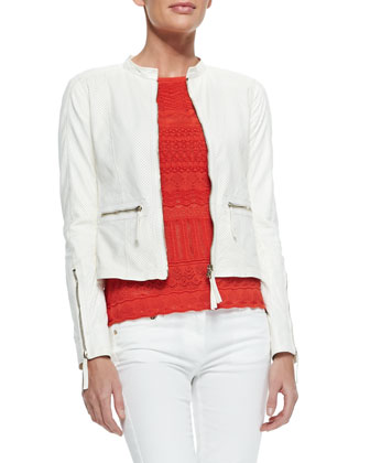 Perforated Leather Band-Collar Jacket, White