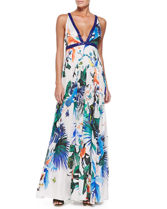 Alize-Print Beaded Open-Back Gown, Blue/White