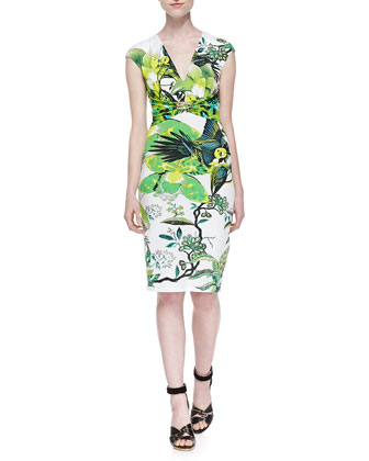 St. Barth-Print Jewelry-Pinned Dress, Verde Lime
