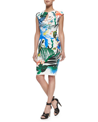 Alize-Print Keyhole Sheath Dress