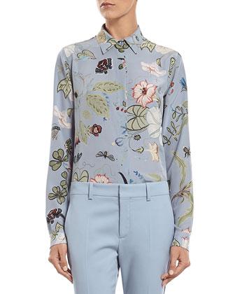 Flora Knight Print Silk Straight Shirt