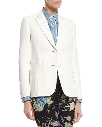 White Techno Cotton-Silk Jacket