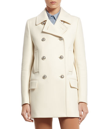 White Wool Peacoat with Contrast Lining