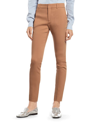 Caramel Brown Techno Wool 60's Skinny Pant
