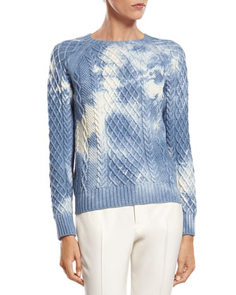 Tie-Dye Effect Wool Sweater