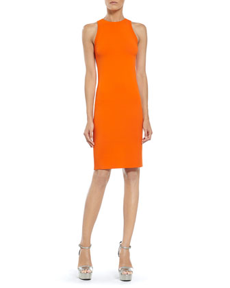 Orange Stretch Viscose Knit Dress