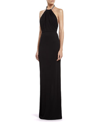Black Viscose Jersey Gown with Crystal Halter
