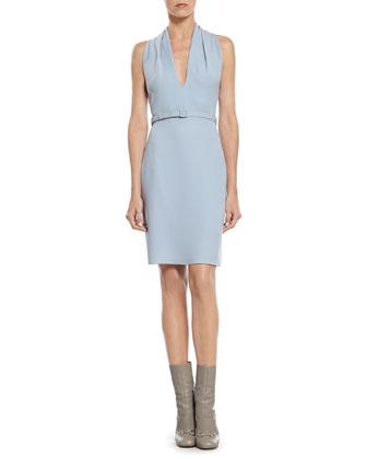 Blue Light Cady Draped Neck Dress