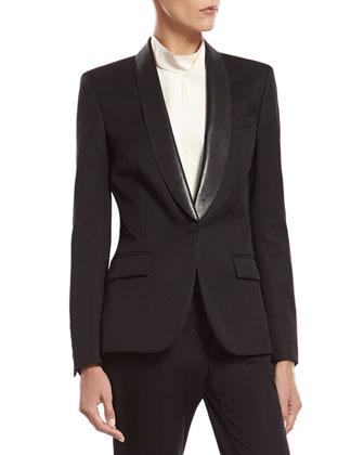 Black Fine Wool Tuxedo Jacket