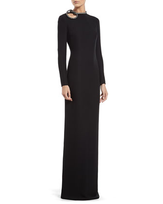 Black Silk Gown with Crystal Knot Detail