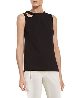 Black Stretch Viscose Top with Knot Detail