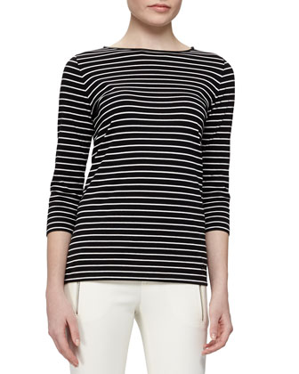 Striped Cotton Shirt with Leather Trim