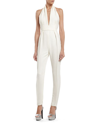 Pearl White Silk Cady Jumpsuit