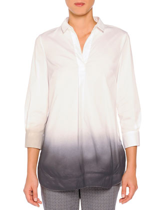 Sprayed Edge Poplin Tunic, White/Gray