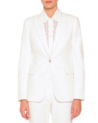 Techno Cotton Single-Button Blazer, White