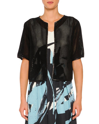 Perforated Suede Short-Sleeve Jacket, Black