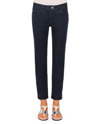 Audrey Straight-Leg Denim Jeans, Navy