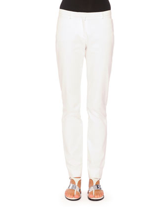 Cristina Flat-Front Skinny Pants, White