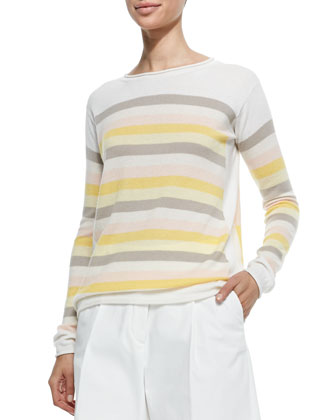 Cashmere Striped & Colorblock Multicolor Sweater