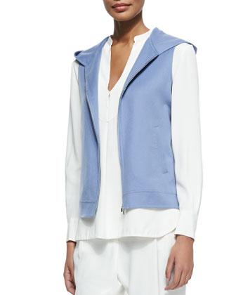 Cashmere Kian Double-Faced Vest, Crocus Blue