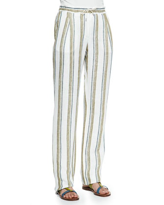 Larrie Linen-Blend Shadow-Striped Pants, White Leaves