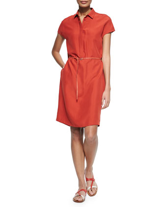 Maggie Belted Silk Shantung Shirtdress, Rouille Red