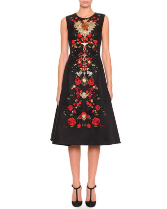 Sleeveless Floral-Embroidered Dress, Black