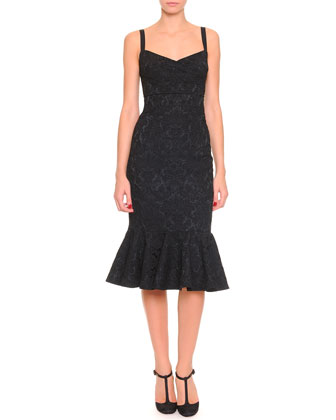Stretch Jacquard Flounce Dress, Black