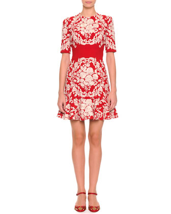 Embroidered Floral Dress, Red/White