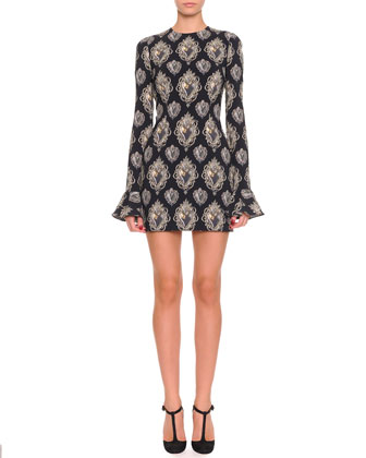 Heart-Print Long-Sleeve Flounce-Cuff Dress, Black