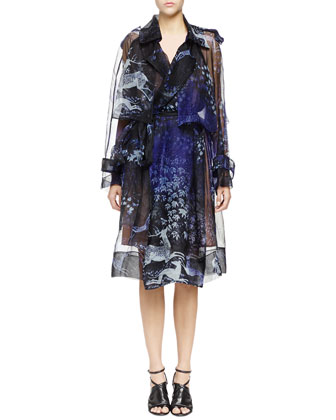 Printed Silk Organza Trench Coat, Navy