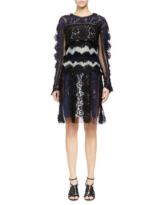 Long-Sleeve Patchwork Lace Dress