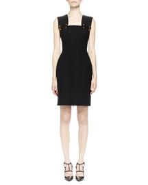 Pierced Wide-Strap Dress, Black