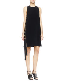 Jewel-Neck Dress with Side Metal Tube Detail