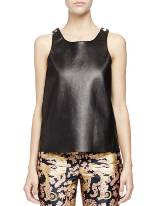 Studded Leather Tank Top, Black
