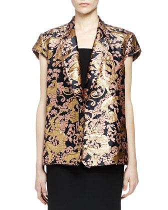 Golden Monkey Brocade Short-Sleeve Jacket