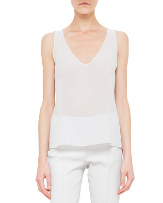 Scoop-Neck Silk Georgette Top, Silver