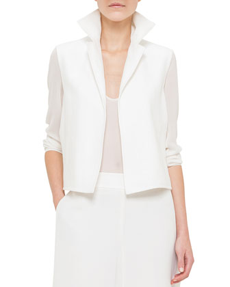 Georgette-Sleeve Linen Short Jacket, Paper