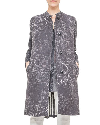Broken Paint-Print Pleated Coat, Black