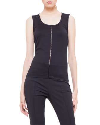Sleeveless Center-Hemstitch Jersey Tank