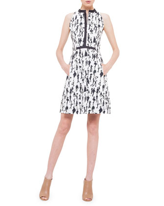 Contrast-Trim Printed Dress with Pockets
